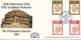 Royal Albert Hall special handstamp stamps cover BBC Symphony Orchestra 50th Anniversary Benham - gutter pairs refE35 Cover in very good condition. Unsealed with insert. Please see larger photo and full description for details.