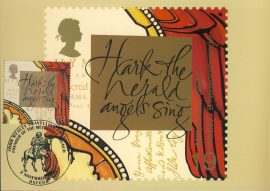 Hark the Herald Angels Sing John Wesley Travelling Preachers Postcard OXFORD special hand stamppostmark refE94 Special Hand Stamped Postcard in Very Good Condition - address label on reverse.