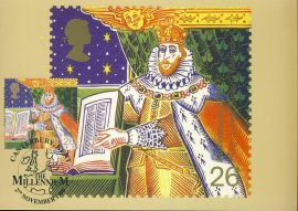 King James Bible Postcard CANTERBURY KENT 1999 special hand stamp postmark refE95 Special Hand Stamped Postcard in Very Good Condition - address label on reverse.