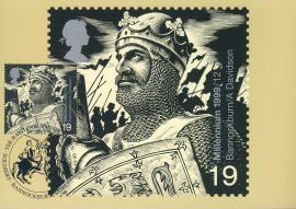 The Battle of Bannockburn Postcard special hand stamp STIRLING Soldiers postmark 1999 refE98 Special Hand Stamped Postcard in Very Good Condition - address label on reverse.
