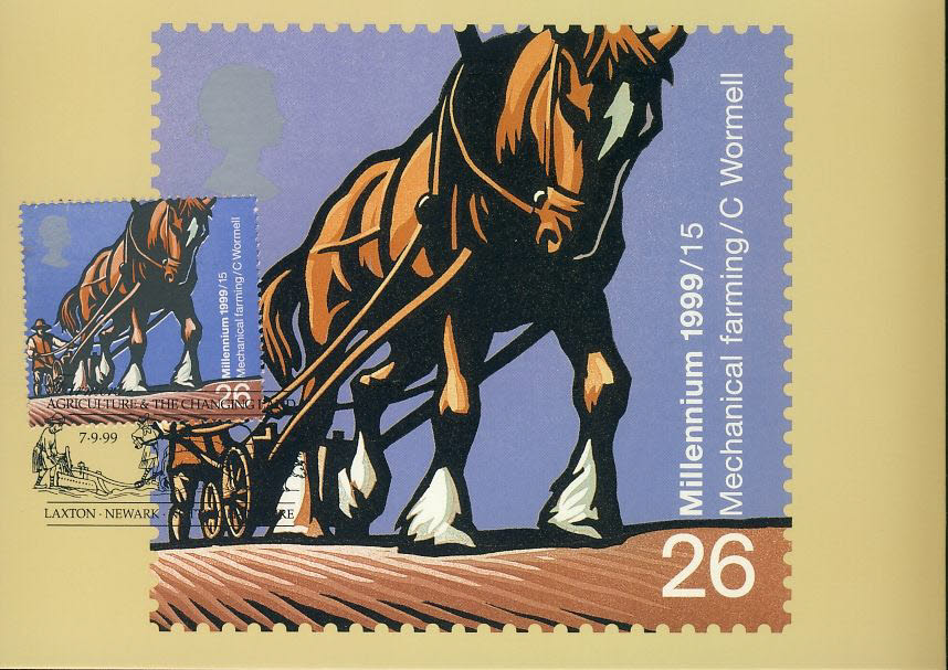Agriculture & The Changing Land Mechanical Farming Horse & Plow Postcard LAXTON NEWARK special hand stamp postmark 1999 refE103 Special Hand Stamped Postcard in Very Good Condition - address label on reverse.