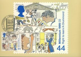 Education Citizens Right to Learn Postcard LANARK special hand stamp postmark 1999 refE113 Special Hand Stamped Postcard in Very Good Condition - address label on reverse.