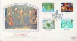 Sotheby's THE HOME QUARTET Arthur Hughes COMPOSERS silk picture stamps cover 1985 refE55 Cover in very good condition. Unsealed with insert. Please see larger photo and full description for details.