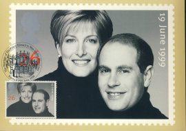 Marriage of Prince Edward & Miss Sophie Rhys-Jones Postcard WINDSOR special hand stamp postmark 1999 refE114 Special Hand Stamped Postcard in Very Good Condition - address label on reverse.