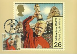 BOBBY MOORE 1966 World Cup Postcard WEMBLEY 1999 special hand stamp postmark refE116 Special Hand Stamped Postcard in Very Good Condition - address label on reverse.