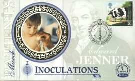PATIENTS Inoculations Edward Jenner BERKELEY GLOS. 2nd March 1999 LTD ED stamp cover refE63 Benham Millennium Collection Limited Edition Cover Silk Cache Picture / Stamp Cover in very good condition. Unsealed with blank insert. Reverse side has text information regarding cover topic.  Please see larger photo and full description for details.