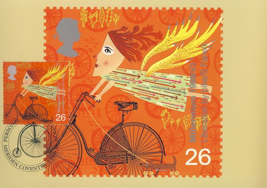 Libertation by Bike Postcard Personal Transportation special hand stamp COVENTRY MERIDEN postmark refE132 Special Hand Stamped Postcard in Very Good Condition - address label on reverse.