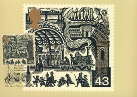 The Rocket Great Age of Steam Postcard special hand stamp RAINHILL postmark refE133 Special Hand Stamped Postcard in Very Good Condition - address label on reverse.