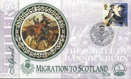 Settlers MIGRATION TO SCOTLAND Bannockburn Stirling 6th April 1999 LTD ED stamp cover refE66 Benham Millennium Collection Limited Edition Cover Silk Cache Picture / Stamp Cover in very good condition. Unsealed with blank insert. Reverse side has text information regarding cover topic.  Please see larger photo and full description for details.