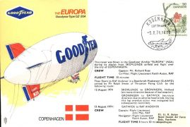 GOODYEAR AIRSHIP Europa COPENHAGEN 1974 flown stamp cover refE148 Cover & Stamp in very good condition. Unsealed - with insert. Please see larger photo and full description for details.