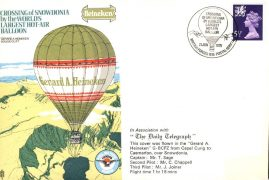 SNOWDONIA Gerard A HEINEKEN World's Largest Hot-Air Balloon flown stamp cover The Daily Telegraph BFPO 1516 refE149 Cover & Stamp in very good condition. Unsealed - no insert. Address label missing.  Please see larger photo and full description for details.