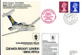 1971 VC10 Caledonian BUA Livery Gatwick-West Africa flown official cover Postmark Horley Surrey refE154 Cover & Stamp in very good condition. Unsealed - with insert. Please see larger photo and full description for details.