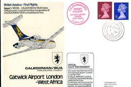 1971 KOTOKA ACCRA GHANA Caledonian BUA First Flight Official flown stamp cover VC10 refE155 Cover & Stamp in very good condition. Unsealed - with insert. Please see larger photo and full description for details.