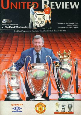 11th Aug 1999 Mancester Utd v. Sheffield Wednesday United Review Football Programme ref100109 Vintage publication as listed and shown in the photo. Please read full description for condition report.