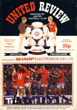 Manchester Utd v Sunderland 27th April 1985 Official Programme refD102038 United Review Vintage programme as listed and shown in the photo. Please see large photo and read full description for condition report.