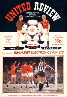 Manchester Utd v Everton 2nd March 1985 Official Programme refD102041 United Review Vintage programme as listed and shown in the photo. Please see large photo and read full description for condition report.