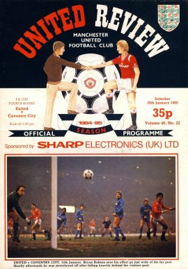 Manchester Utd vs Coventry City 26th January 1985 Official Programme refD102044 United Review Vintage programme as listed and shown in the photo. Please see large photo and read full description for condition report.