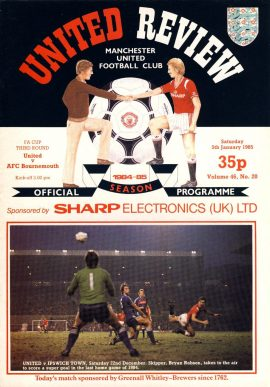 Manchester Utd v AFC Bournemouth 5th January 1985 Official Programme refD102045 United Review Vintage programme as listed and shown in the photo. Please see large photo and read full description for condition report.