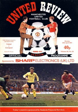 Manchester Utd v Liverpool 20th April 1987 Official Programme refE102049 United Review Vintage programme as listed and shown in the photo. Please see large photo and read full description for condition report.