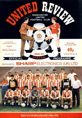 Manchester Utd v Red Star Belgrade 21st January 1987 Official Programme refE102053 United Review Vintage programme as listed and shown in the photo. Please see large photo and read full description for condition report.