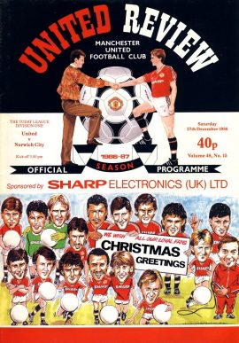 Manchester Utd v Norwich City 27th December 1986 Official Programme refE102057 United Review Vintage programme as listed and shown in the photo. Please see large photo and read full description for condition report.