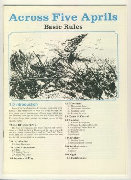 Across Five Aprils Basic game rules 16 pages ref100106 Ideal for additional / replacement in exisiting board game. RULES ONLY no game parts or boards
