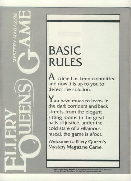 Ellery Queen's Mystery magazine Game Basic (4 pages) & Adv. Rules (8 pages) ref100108 Ideal for additional / replacement in exisiting board game. RULES ONLY no game parts or boards