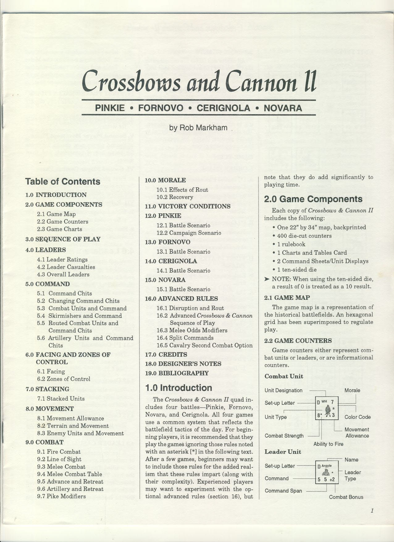 Crossbows & Cannon II Pinkie Fornovo Cerignola Novara Game Rules 12 pages ref1000141 Ideal for additional / replacement in exisiting board game. RULES ONLY no game parts or boards