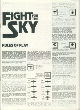 Fight for the Sky Rules of Play 1989 ref1000162 Ideal for additional / replacement in exisiting board game. RULES ONLY no game parts or boards