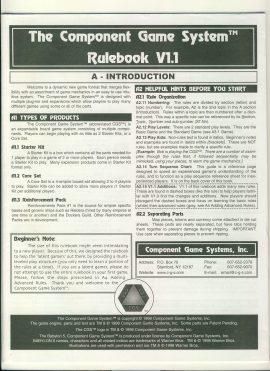 The Component Game System Rules VI.1 24 pages game rules ref100064 Ideal for additional / replacement in exisiting board game. RULES ONLY no game parts or boards