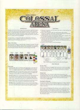 Reiner Knizia's Colossal Arena game rules 4 pages ref100071 Ideal for additional / replacement in exisiting board game. RULES ONLY no game parts or boards