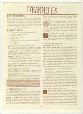 TYRANNO EX 6 pages game rules - Tyrannosaurus Rex ref100078 Ideal for additional / replacement in exisiting board game. RULES ONLY no game parts or boards