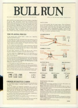 BULL RUN 1983 game rules 12 pages Avalon Hill Civil War Battle ref100085 Ideal for additional / replacement in exisiting board game. RULES ONLY no game parts or boards