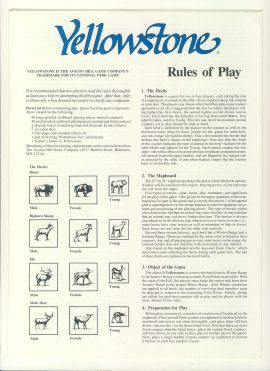Yellowstone Rules of Play Avalon Hill 4 page game rules ref100092 Ideal for additional / replacement in exisiting board game. RULES ONLY no game parts or boards