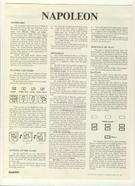 NAPOLEON 1977 game instructions 6 pages Avalon Hill ref100095 Ideal for additional / replacement in exisiting board game. RULES ONLY no game parts or boards
