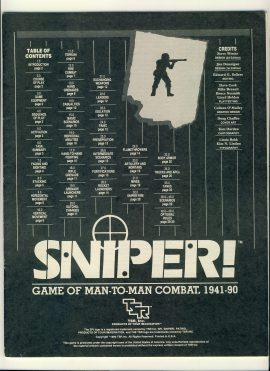 SNIPER! Game of Man-to-Man Combat 1941-90 game rules 32 pages ref100096 Ideal for additional / replacement in exisiting board game. RULES ONLY no game parts or boards