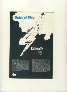 Luftwaffe Aerial Combat over Germany 1943-45 Rule of Play - foldout game rules ref100102 Ideal for additional / replacement in exisiting board game. RULES ONLY no game parts or boards