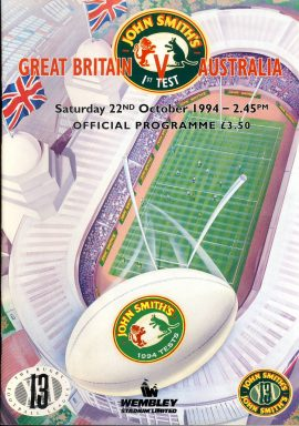 1994 John Smith's 1st Test Wembley Stadium Programme in good used condition. Please read full description. . Ref87