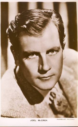 Joel McCrea Paramount Pictures real photo vintage postcard.  An original postcard in good condition for its age. Please see large photo and description for details. ref137
