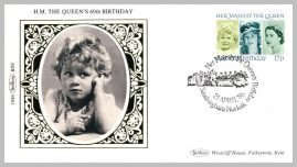 1986 BS9 Her Majesty The Queen's 60th Birthday Sandringham Ltd Edition small silk cover refF13 Cover in very good condition. Please see larger photo for details.
