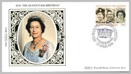 1986 BS12 Her Majesty The Queen's 60th Birthday Windsor Ltd Edition small silk cover refF15 Cover in very good condition - pen mark on reverse. Please see larger photo for details.