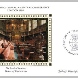 1986 BS30 Lords Chamber Palace of Westminster Parliament London Ltd Edition small silk cover refF21 Cover in very good condition. Please see larger photo for details.