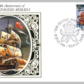 1988 BS25 The Spanish Armada Tilbury Essex Ltd Edition small silk cover refF22 Cover in very good condition. Please see larger photo for details.