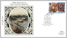 1988 BS24 The Spanish Armada Battle of Gravelines Ltd Edition small silk cover refF25 Cover in very good condition. Please see larger photo for details.