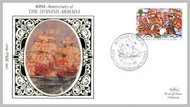 1988 BS23 Spanish Armada Effingham Leatherhead Ltd Edition small silk cover refF24 Cover in very good condition. Please see larger photo for details.