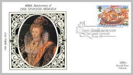 1988 BS21 First Spanish Armada 400 Beacon Lizard Cornwall Elizabeth I Ltd Edition small silk cover refF26 Cover in very good condition. Please see larger photo for details.