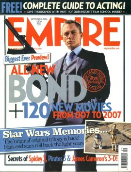 EMPIRE magazine Sept 2006 BOND 007 Daniel Craig ref100165 Pre-owned in very good clean condition. Please see larger photo and full description for details.