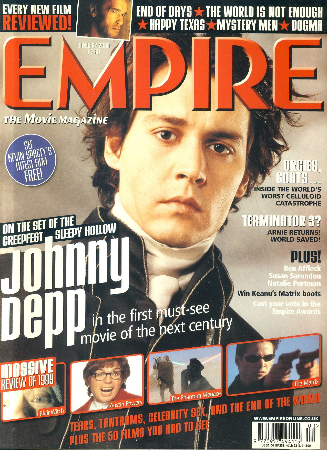 EMPIRE magazine JAN 2000 Johnny Depp SLEEPY HOLLOW ref100194 Pre-owned in very good clean condition. Please see larger photo and full description for details.