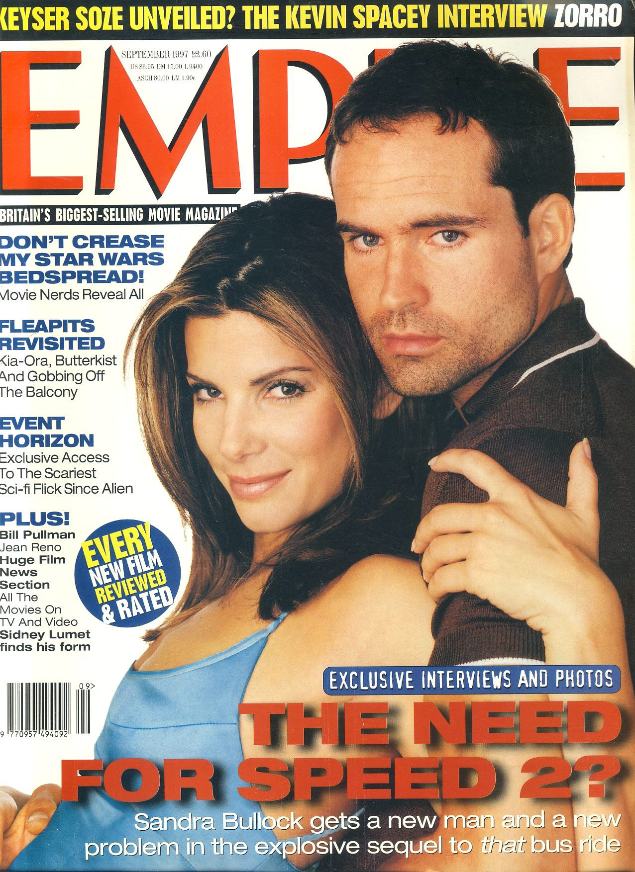 EMPIRE magazine SEPT 1997 Sandra Bullock & Jason Patric ref100195 Pre-owned in very good clean condition. Please see larger photo and full description for details.