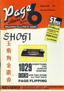 ATARI Page 6 #25 1987 computer magazine SHOGI ref101149 Pre-owned in good condition. See 2nd photo for contents. Magazine ONLY